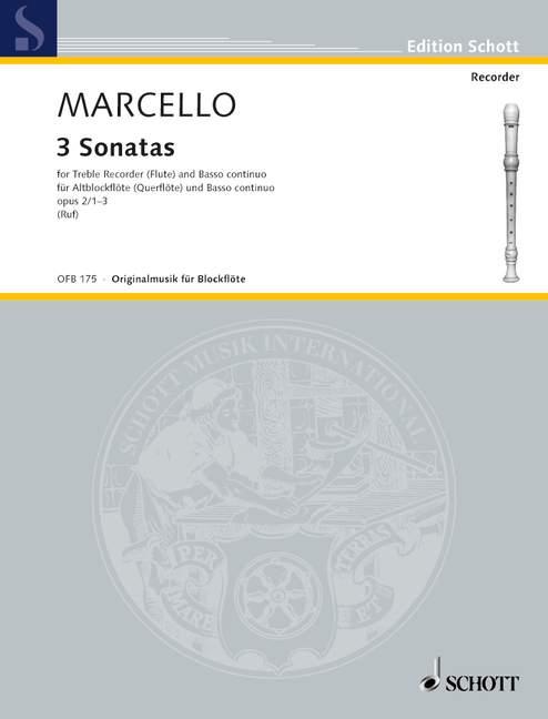 3-Sonatas-op-2-Vol-1-No-1-3-Marcello-Benedetto-treble-recorder-flute-and